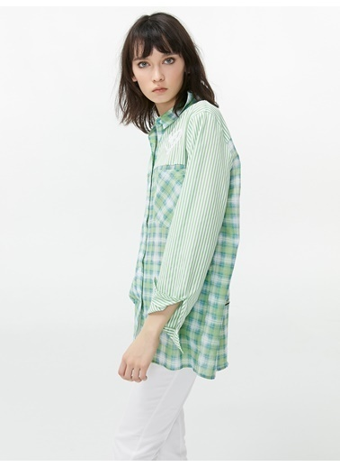 Twist Kareli Çizgili Gömlek Yeşil